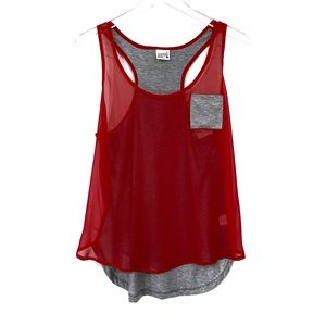 Full Tilt Sheer Red & Heather Gray tank top Size L